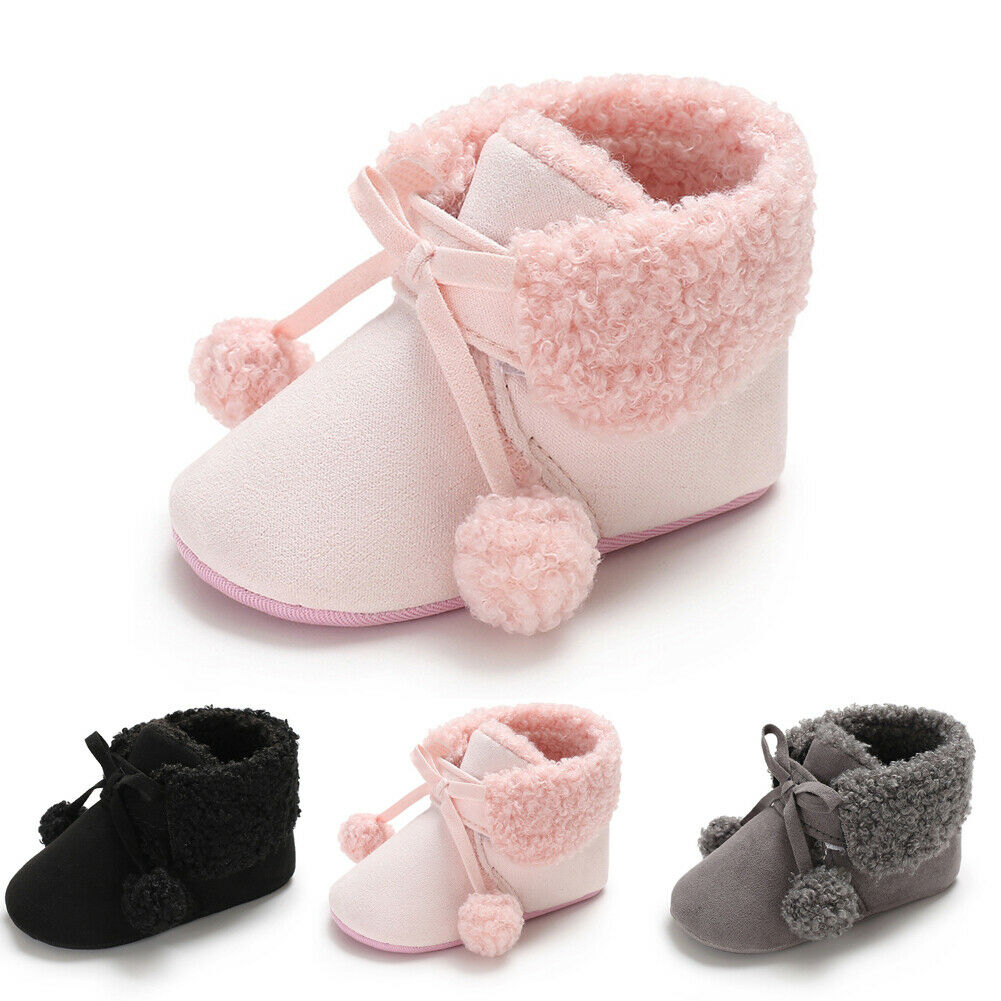 Infant Newborn Baby Girl Booties Soft Sole Snow Boots Winter Warm Fur Crib Shoes
