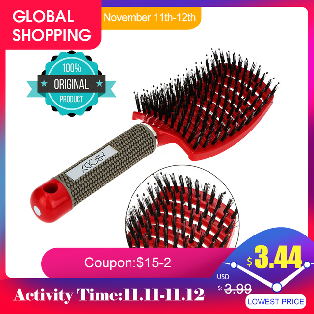 Abody hair brush Massage Comb Nylon Hairbrush Women Wet Curly Detangle Hair Brush Massager For Salon Household Styling Tools