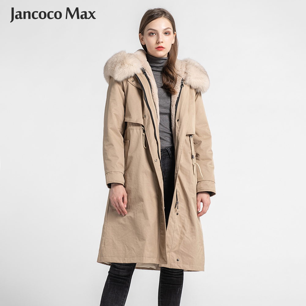 2019 New Women's Fashion Parka Winter Thick Warm Rabbit Fur Lining Long Coats Real Fox Fur Collar Parker S7576 image