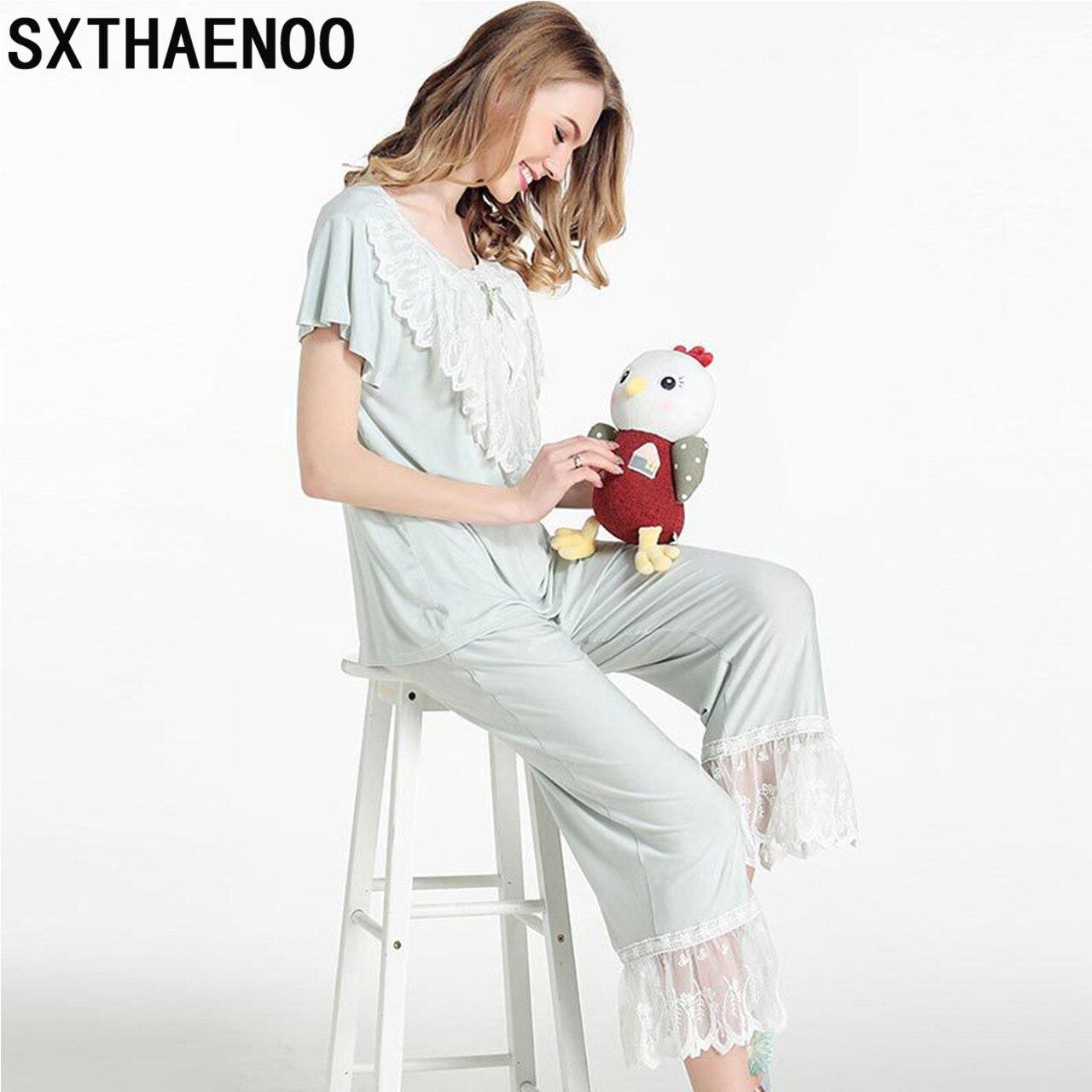 SXTHAENOO Women Cotton Pajamas Set Short-Sleeve Princess Sweet Lovely Vintage Royal Pajamas House Wear Suit Pajama Retro