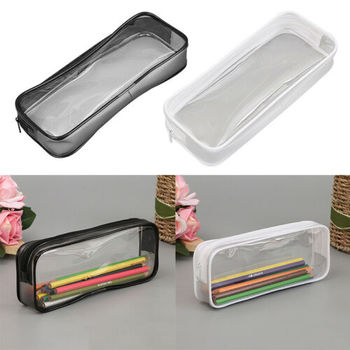 цена на PVC Clear Transparent Pencil Case Waterproof Makeup Pouch Bag with Zipper for Stationery Cosmetics Pen Bag Storage 2020
