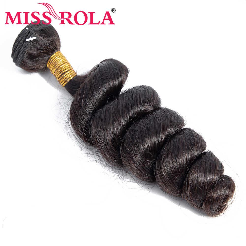Miss Rola włosów malezyjski Loose Wave 3 zestawy z zamknięciem 100% człowieka wiązki włosów malezyjski włosy z 4*4 koronki zamknięcie nie Remy