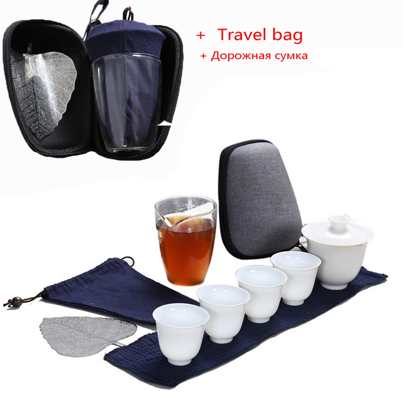 Porcelain Service Gaiwan Tea Cups Mug Of Tea Ceremony Teapot,Chinese Portable Kung Fu Tea Set, Ceramic Travel Teacup With Bag