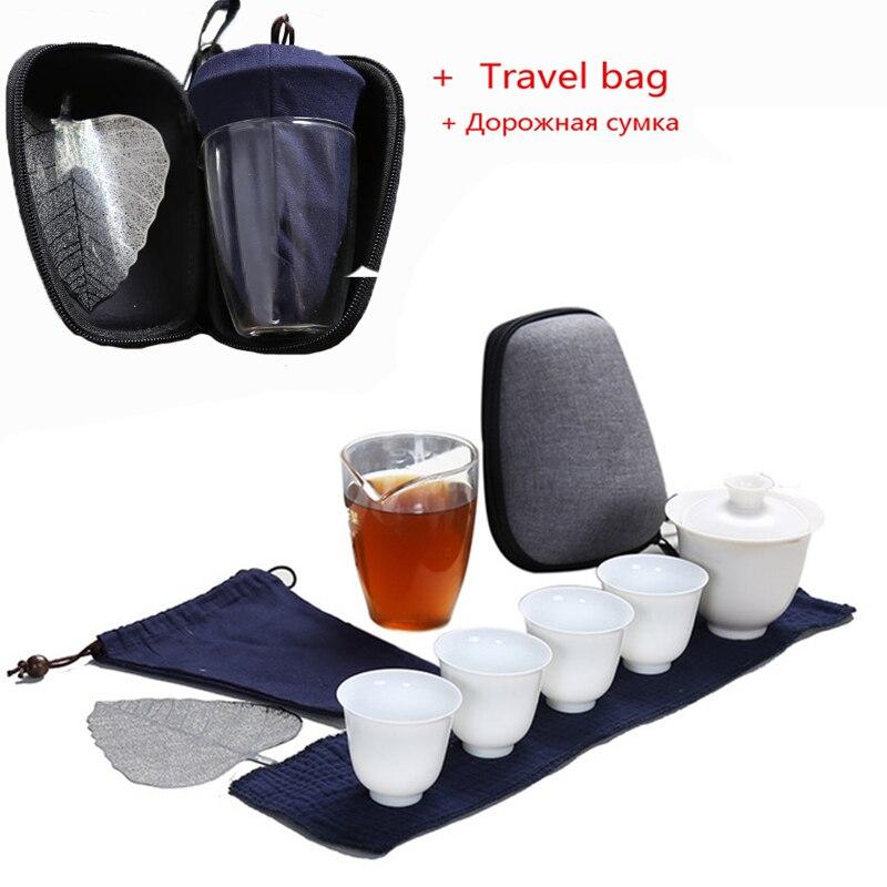 Porcelain Service Gaiwan Tea Cups Mug of Tea Ceremony Teapot Chinese Portable Kung Fu Tea Set  Ceramic Travel Teacup with bag|Teaware Sets| |  - title=