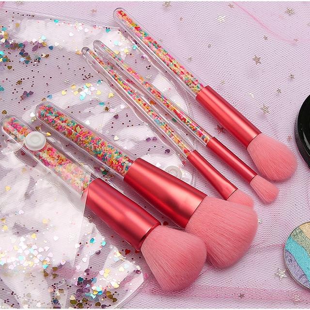 New 5pcs Lollipop Candy Unicorn Crystal Makeup Brushes Set Colorful Lovely Foundation Blending Brush Makeup Tool maquillaje 4