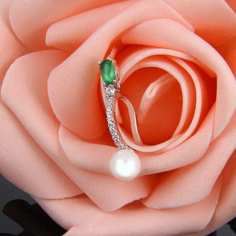 Lxoen Fashion Gesimuleerde Pearl Oor Manchet Voor Meisje Groene Ovale Zirconia Clip Oorbellen Vrouwen Zilver Kleur Cz Clips Jewlery Geschenken