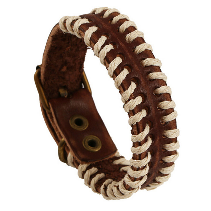 Vintage Brown Genuine Leather Belt Braided Bracelet For Men Woman Wristband Jewelry Bijouterie Unisex