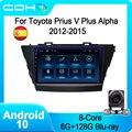 COHO для Toyota Prius V Plus Alpha 2012-2015 Автомобильный мультимедийный плеер радио Coche Android 10 Octa Core 6 + 128G