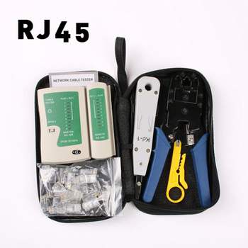LUBAN Network Ethernet Cable Tester RJ45 Kit RJ45 Crimper Crimping Tool Punch Down RJ11 Cat5 Cat6 Wire Line Detector 8P8C RJ4 network cable testing diagnostic tool kit set rj45 rj11 ethernet lan cable tester voltage detector punch tool wire tracker