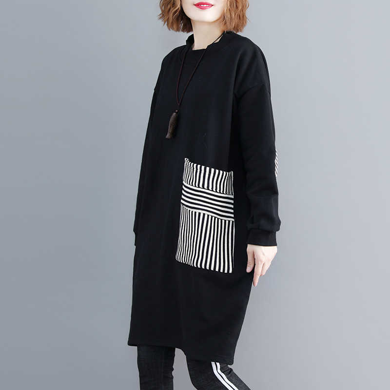 Algodón de manga larga negro talla grande mujer casual suelta midi Otoño Invierno sudadera vestido elegante ropa 2020 vestidos de damas