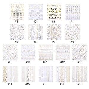 Image 2 - 1 Sheet Gold Silver Metal 3D Nail Sticker Lines Multi size Strip Adhesive Nail Art Transfer Sticker  Nail Design