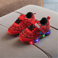 Led luminous Spiderman Kids Shoes For Boys Girls Sneakers Luminous Children Sneaker Toddler Baby Boys Shoes Children Shoes cheap BONJEAN Rubber COTTON Fits true to size take your normal size 14T Mesh (Air mesh) Hook Loop Print Spring Autumn Lighted