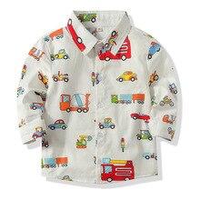 Новая весенне-осенняя рубашка с длинными рукавами и рисунком автомобиля для мальчиков