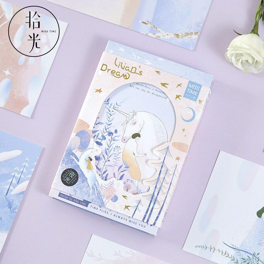 Creative Lilian's Dream Postcard Beautiful Unicorn Greeting Cards Message Card New Year Gift 30Pcs/Lot