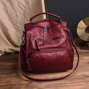 Image 5 - 2020 kobiet skórzane plecaki szkolne torby dla nastolatków dziewczyny wielofunkcyjna torba na ramię damska damski plecak podróżny Sac A Dos