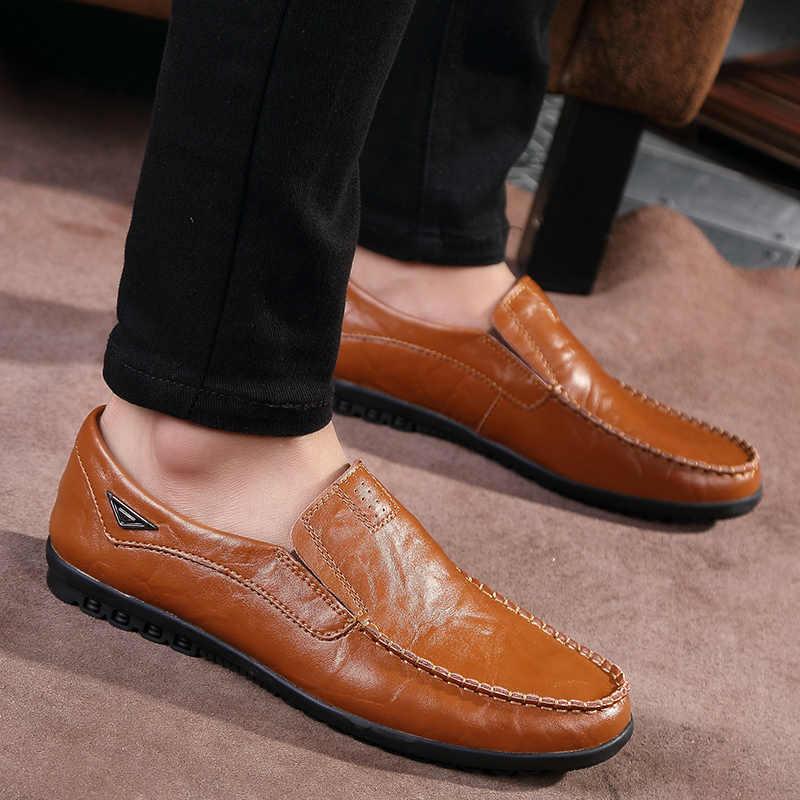 2019 mężczyźni buty Casual oryginalne skórzane buty mężczyźni wygodne męskie mokasyny mokasyny oddychające Slip mieszkania buty do jazdy samochodem moda