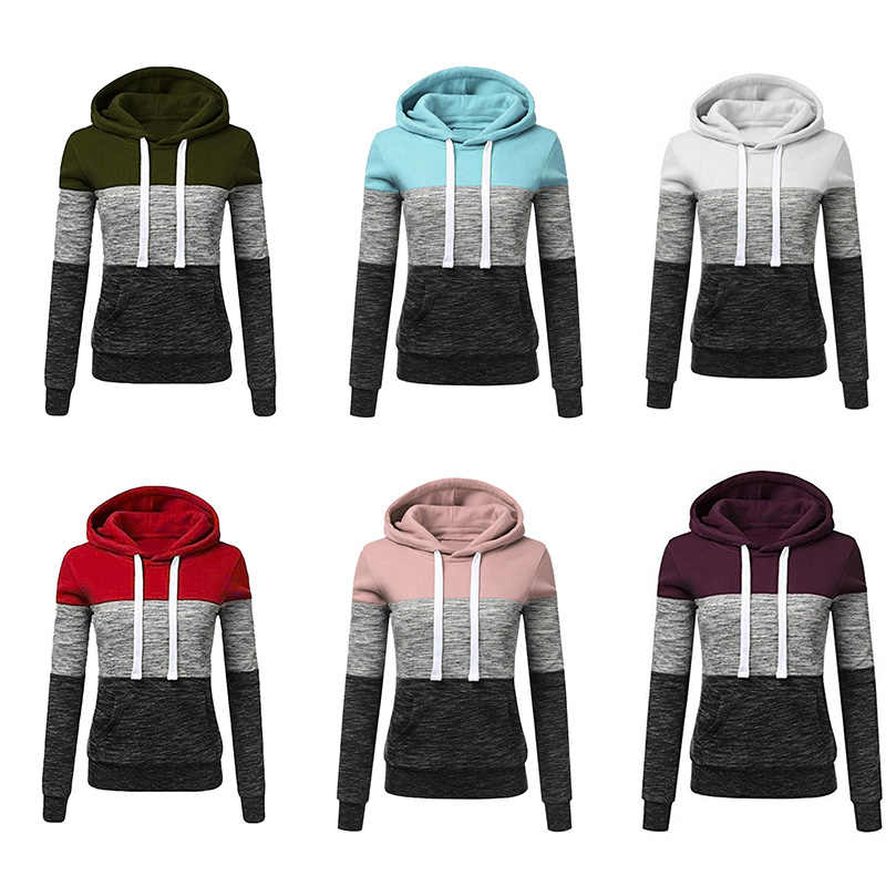 Kadın kazaklar kış Hoodies Streetwear bayanlar Casual Kpop Hoody moda Patchwork tişörtü kadın kapşonlu üst Bluza Damska
