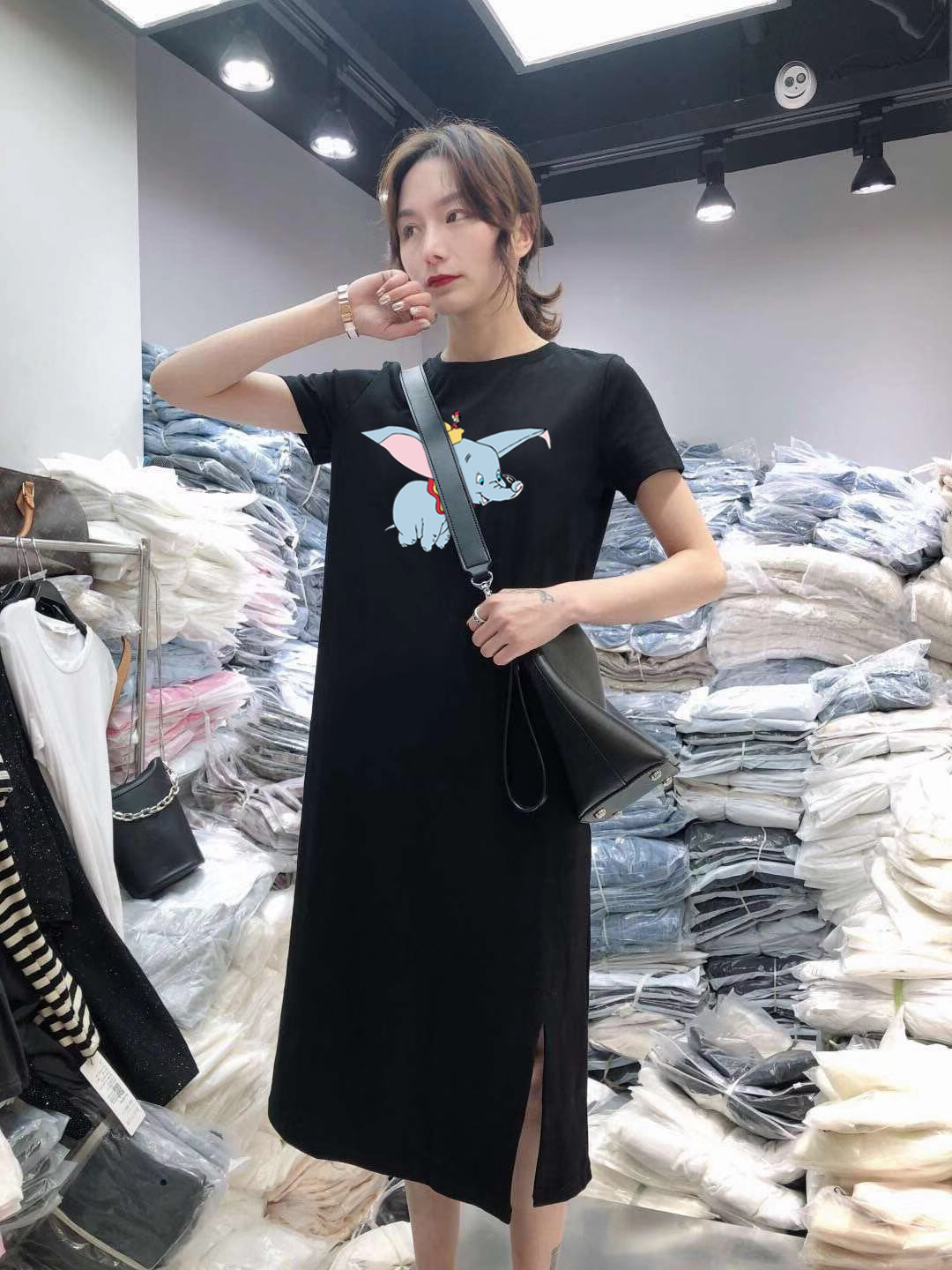 Summer Cartoon print women dress short sleeve O-Neck Medium long Mickey Mouse dresses Casual clothes 19 vestidos 16