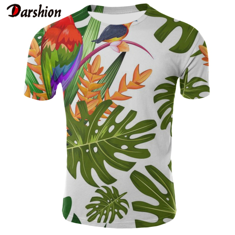 Handsome Boy Summer Fashion Beach Hawaiian 3D Tshirt Cool Red-crowned Crane Banana Leaf Print Short Sleeve Holiday Party Clothes