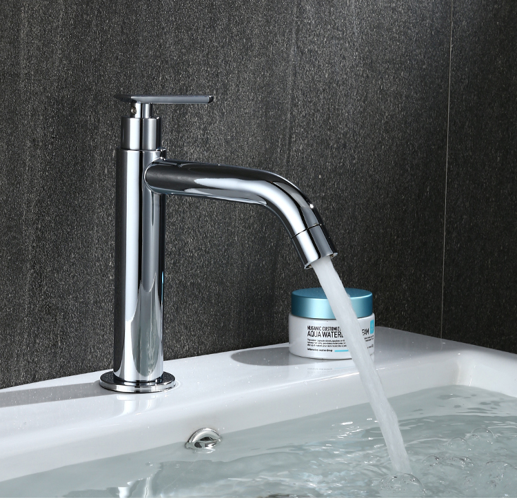 Basin Faucet Deck Mounted Kitchen Single Cold Toilet Wash Stainless Steel Useful Sink Handle Modern Water Tap Bathroom