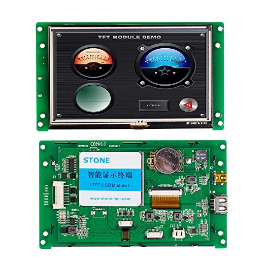 TFT LCD HMI Touchscreen 5.0 Inch With Controller & Driver & RS232 UART Interface Support Any MCU
