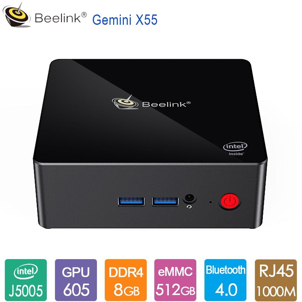 Beelink Gemini X55 Ultimate Mini PC Intel GEMINI LAKE J5005 8GB LPDDR4 128G 256G 512G Up To 2.5GHz BT4.0 1000M LAN 5G Dual WiFi