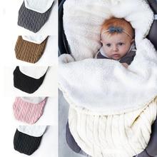 Теплое детское одеяло, мягкий детский спальный мешок, муфта для ног, Хлопковый вязаный конверт, пеленка для новорожденных, спальные мешки, аксессуары для коляски
