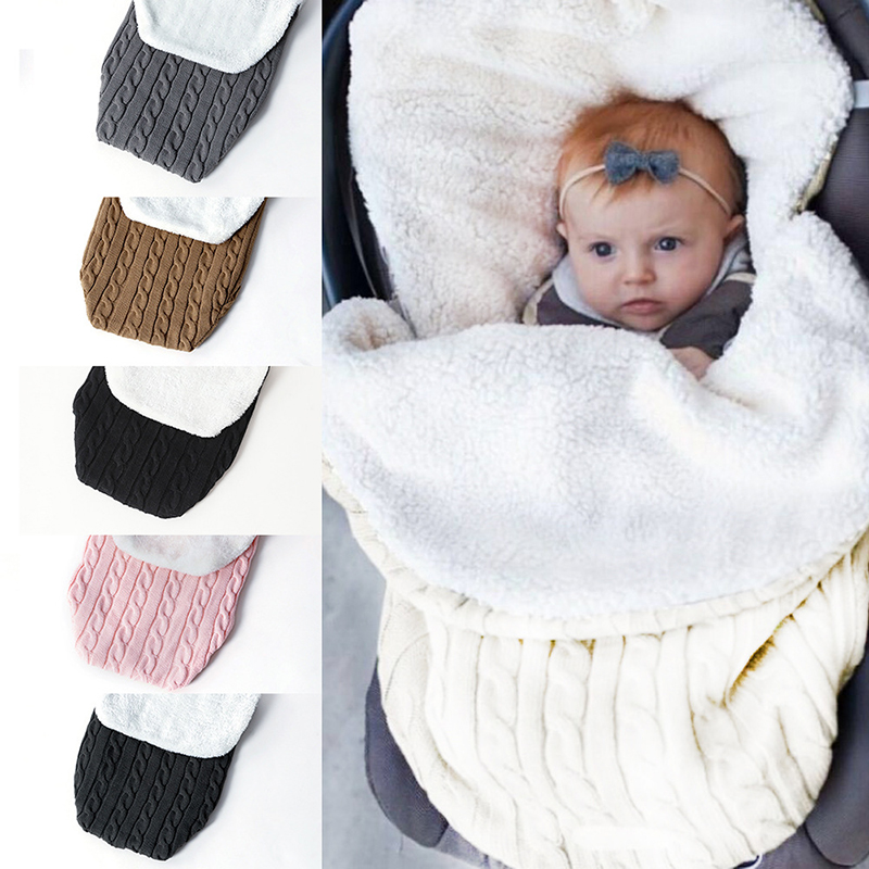 Warm Baby Blanket Soft Baby Sleeping Bag Footmuff Cotton Knitting Envelope Newborn Swaddle Wrap Sleepsacks Stroller Accessories