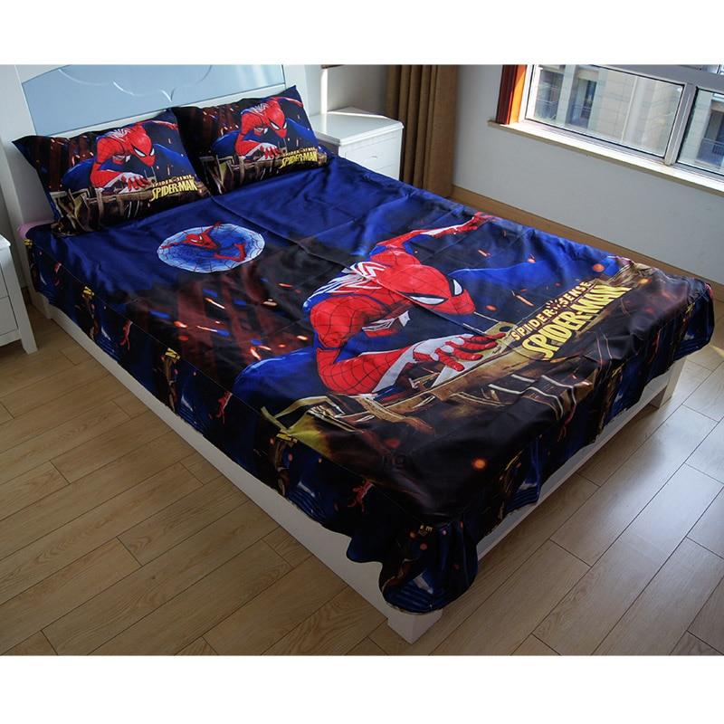 Night Ultimate Spiderman Lightning McQueen Car Bedskirt Pillowcase Bedsheet 200x225CM for Baby Boys Girls Children on Bed Gift