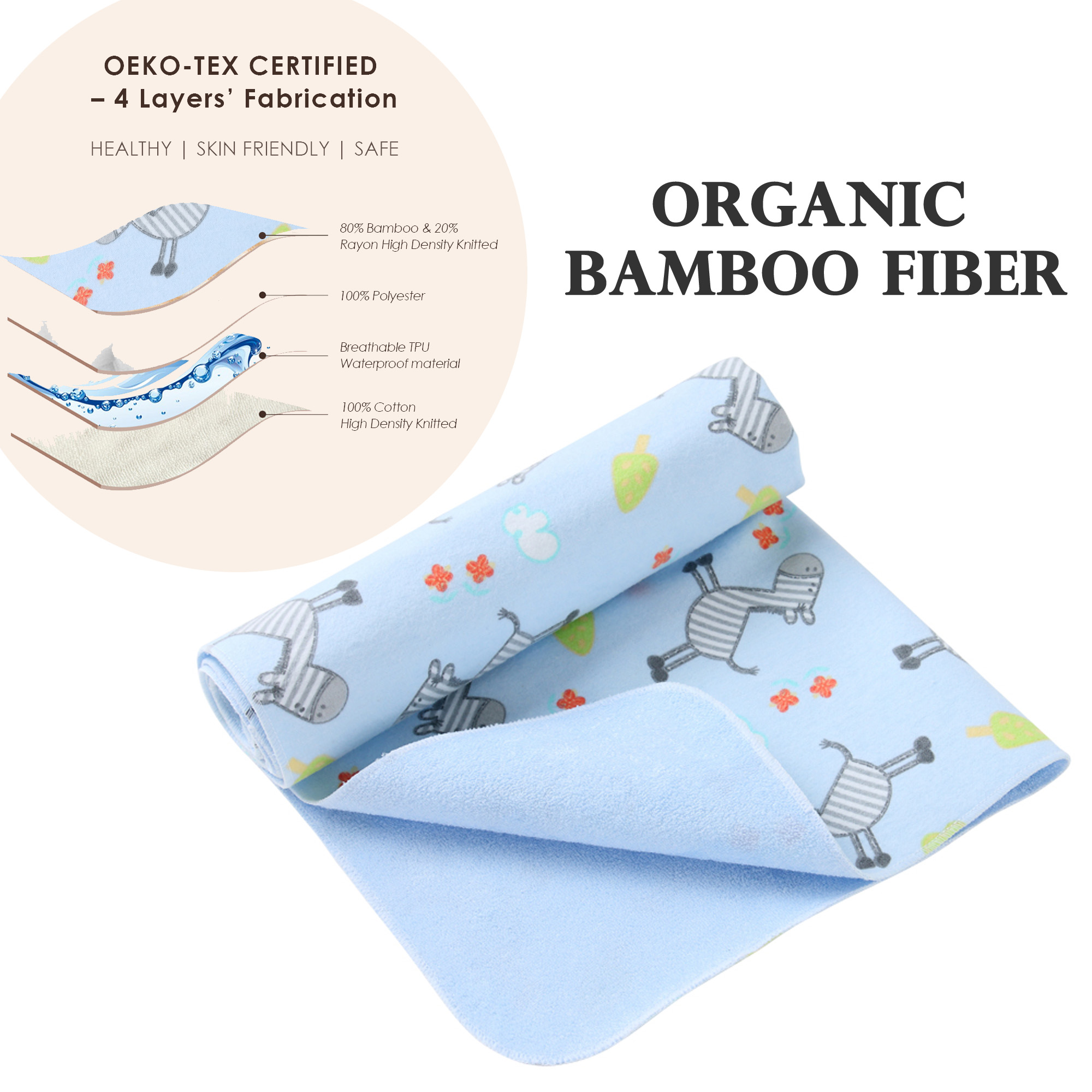 i-baby Organic Bamboo Baby Changing Pad, Toddler Waterproof Mat, Kids Breathable Urine pad, Leak Proof Mattress Pad 50x70cm image