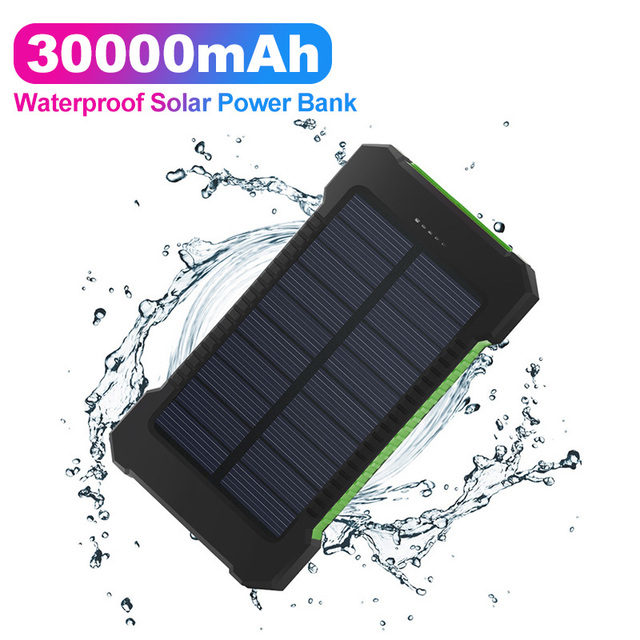 Solar Power Bank Waterproof 30000mAh Solar Charger 2 USB Ports External Charger for Xiaomi note8 for i7 18650 1