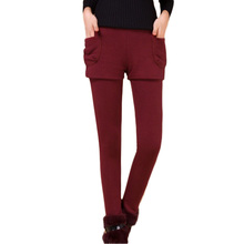 Winter Warm Solid Leggings Womens Pants Fake Two Pieces Legging x