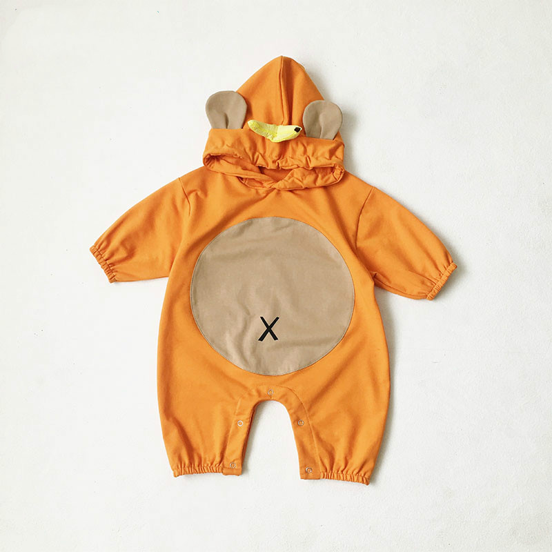 Autumn Winter Cartoon Jumpsuit Newborn Baby Boys Girls Clothes Infant Kids Warm Outwear Hooded Pajamas Children Bodysuit 0-24m