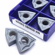 Wnmg080404 nn lt10 wnmg080408 nn lt10 alta qualidade ferramenta de torneamento externo carboneto inserção torno cnc, para aço inoxidável