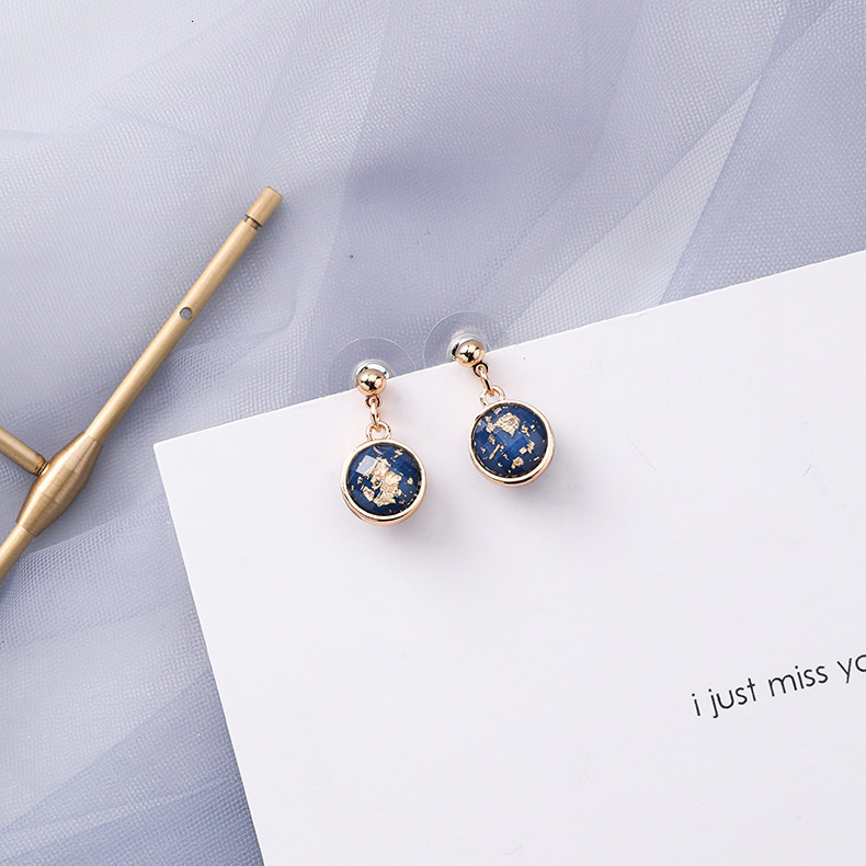 H140891f90b70426fa3ad1e8f1b8c6792C - Summer Blue Geometric Acrylic Irregular Hollow Circle Round Square Drop Earrings for Women Metal Bump Party Beach Jewelry