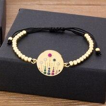 Fashion Cubic Zirconia Adjustable Flower Bracelet For Women Charm Crystal Handmade Bead