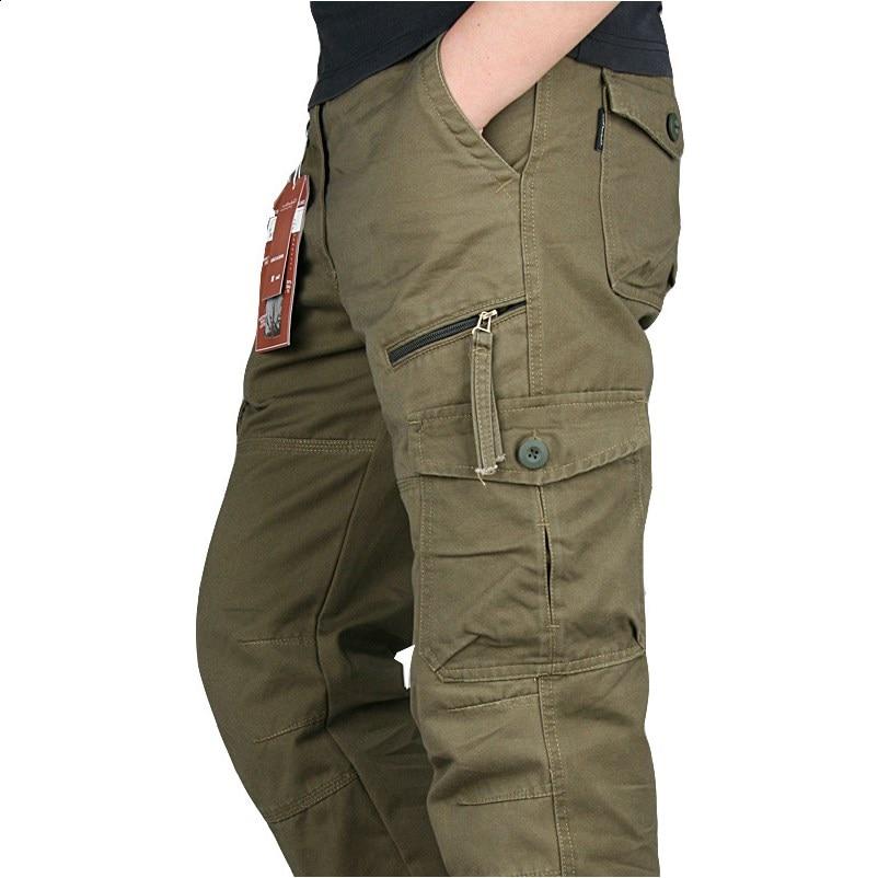 New 2019 Men Cargo Pants Multi Pockets Military Tactical Pants Men Outwear Streetwear Army Straight Slacks Casual Long Trousers