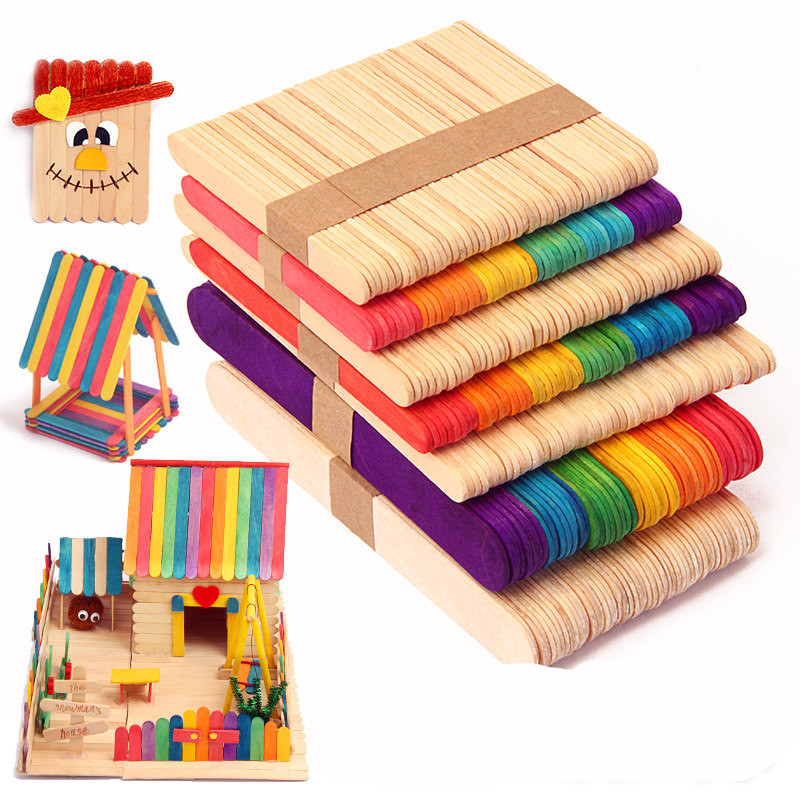 48+Pcs Wooden Sticks Coloured Natural Lollipop Popsicle Ice Lolly Arts DIY Craft