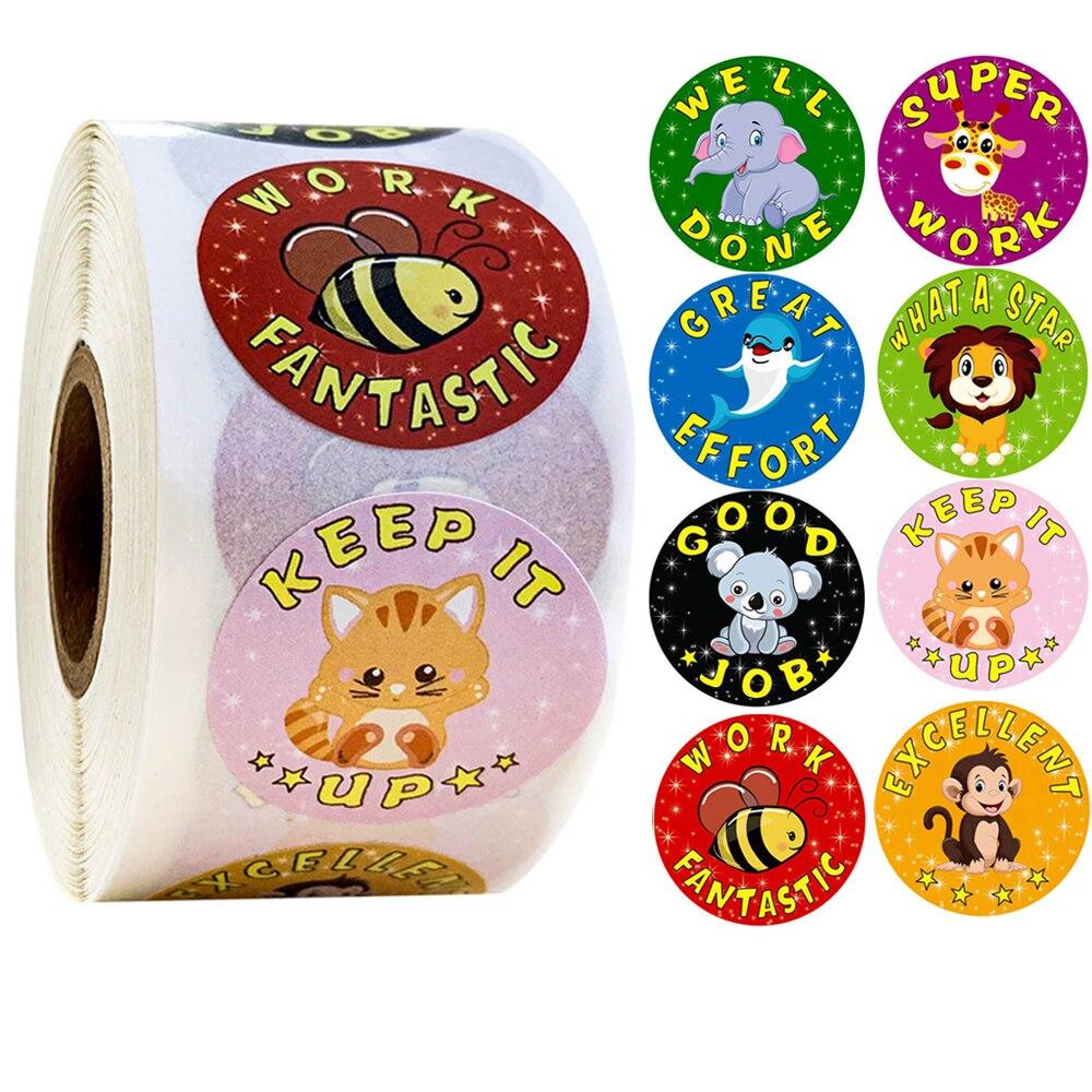 "500pcs ""well Done"" Reward Sticker 8 Designs Cartoon Words Sticker Good For Teachers And Kids Boys Girl Toy Sticker Decoration"