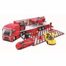 Bburago 1Ferrari Die-Cast Vehiclein 1/43 Scale Racing trailer with opening tailagte Model Car Toys Collect gifts