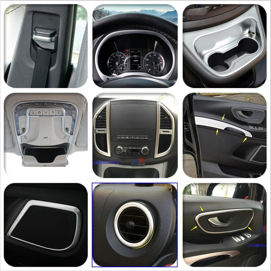 Yimaautotrims Matte Interior Refit Kit For Mercedes-Benz Vito W447 2014 - 2019 Dashboard / Cup Holder / Air / Handle Cover Trim