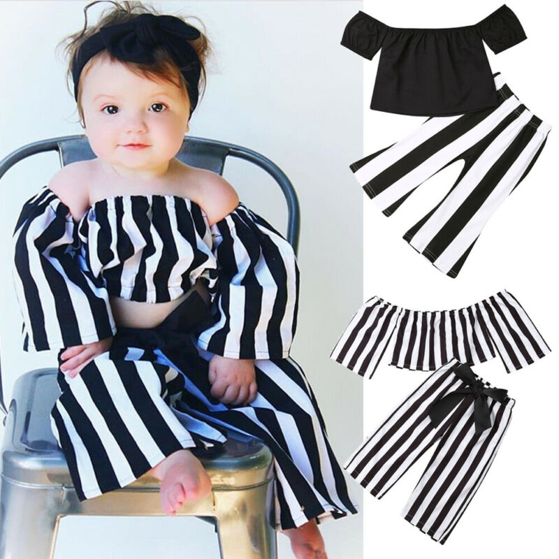 Kids Baby Girls Summer Striped Crop Tops T-shirt Long Pants Outfits Clothes