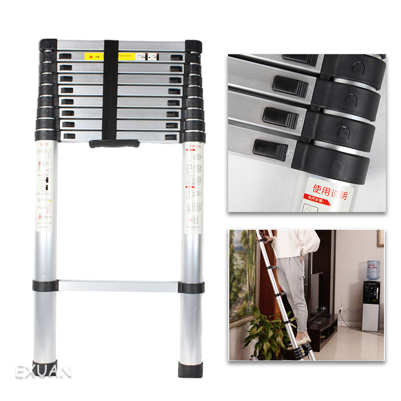 Multifunctional Thickened Aluminum Alloy Portable Single-sided 4.1M Telescopic Ladder