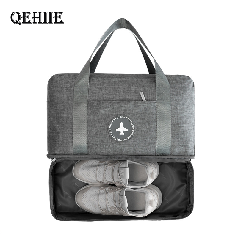 QEHIIE Waterproof Portable Travel Bag Double Layer Classification Clothes Shoes Organizer Luggage Tidy Pouch Accessories Supply