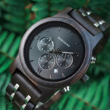 Wooden Watch Chronograph-Date Timepieces Metal-Strap Bobo Bird Luxury Masculino Quartz