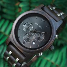 בובו ציפור עץ שעון גברים relogio masculino עץ מתכת רצועת הכרונוגרף תאריך קוורץ שעונים יוקרה תכליתי שעונים WP19