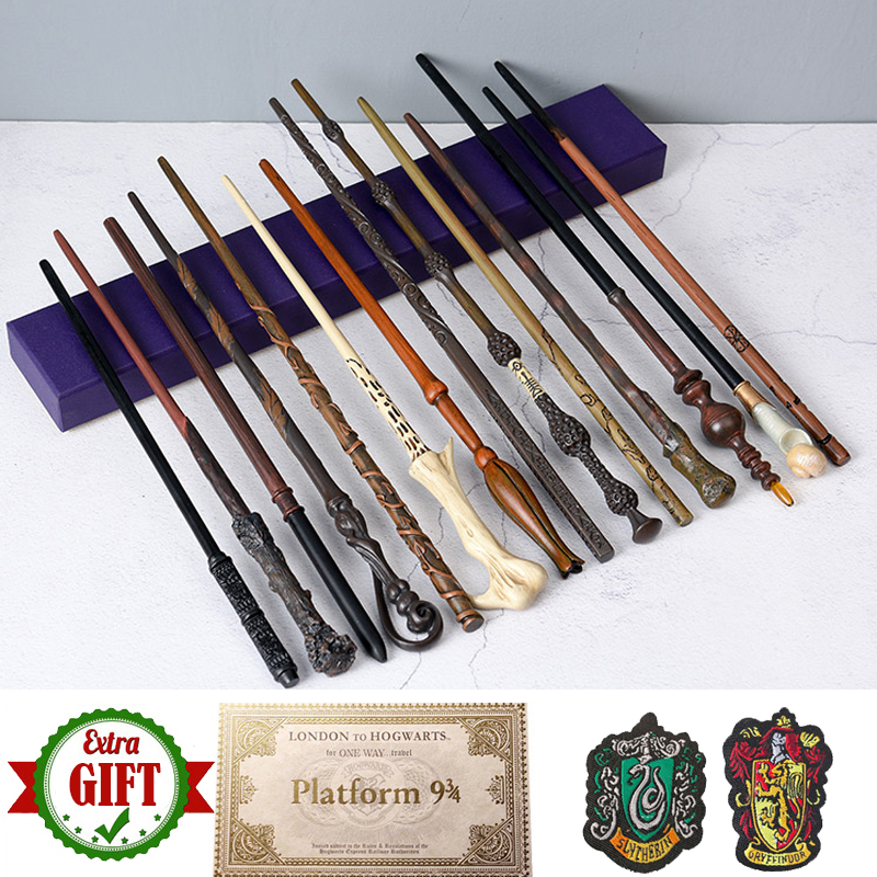 28 Kinds 35-42cm Metal Core Potters Magic Wand  Harried Dumbledore Voldemort Malfoy Snape Wands Toys Ticket Badges As Free Gift