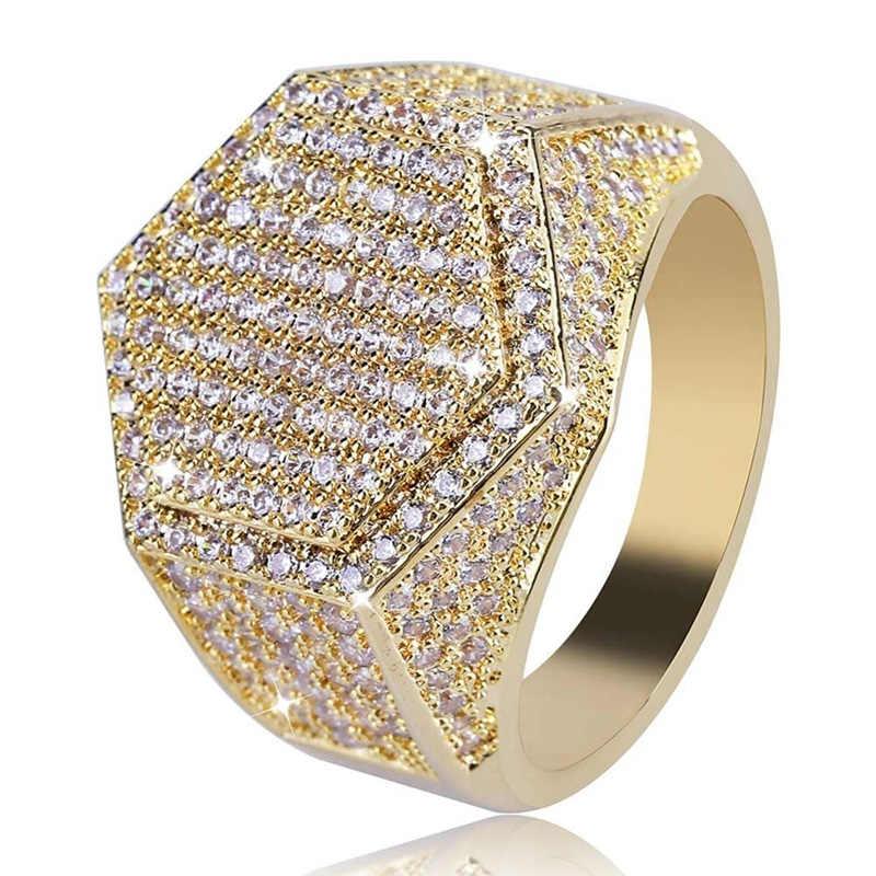 Hip Hop แฟชั่นผู้ชายแหวนทองแดง Gold Silver สีแหวน Iced OUT Bling Pave Cubic Zirconia แหวนเรขาคณิต Charms สำหรับผู้ชายของขวัญ