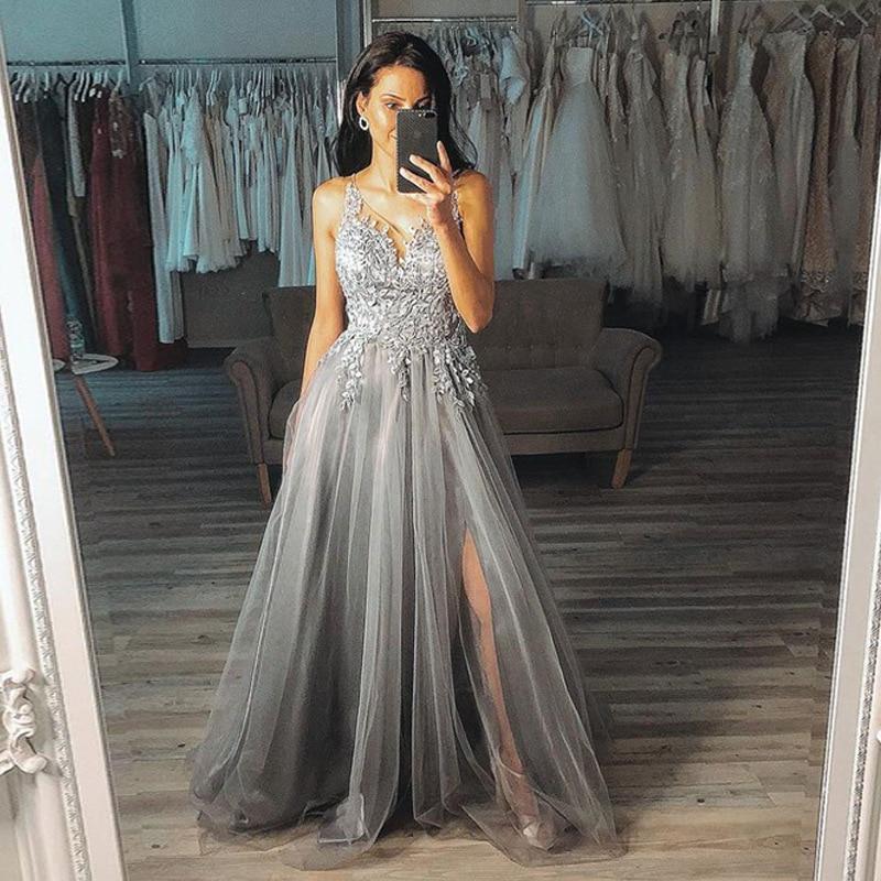 A Line Prom Dresses Side Split Robe De Soiree Gray Lace Appliques Long Formal Evening Gown