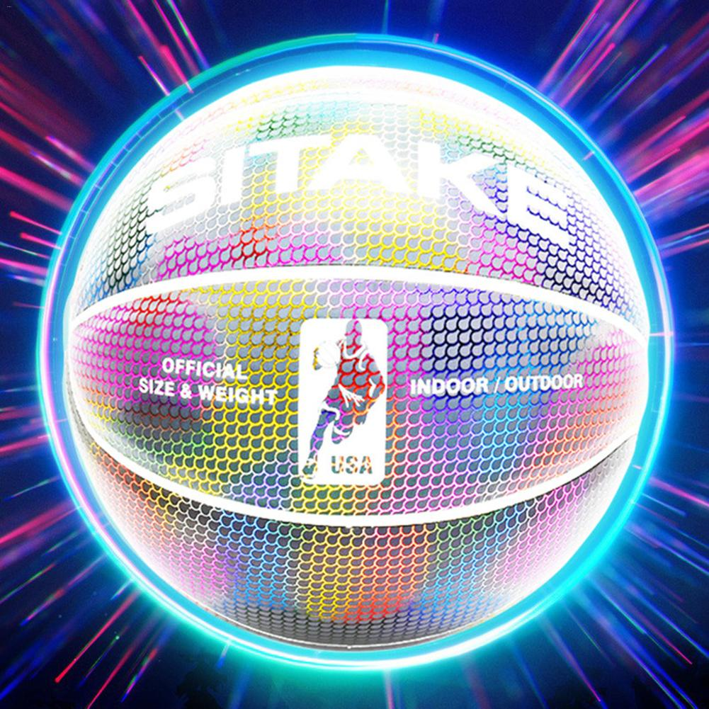 Basketball Holographic Glowing Reflective Basketball Luminous Glow Basketballs Gifts Toys Perfect For Indoor Outdoor Night Game